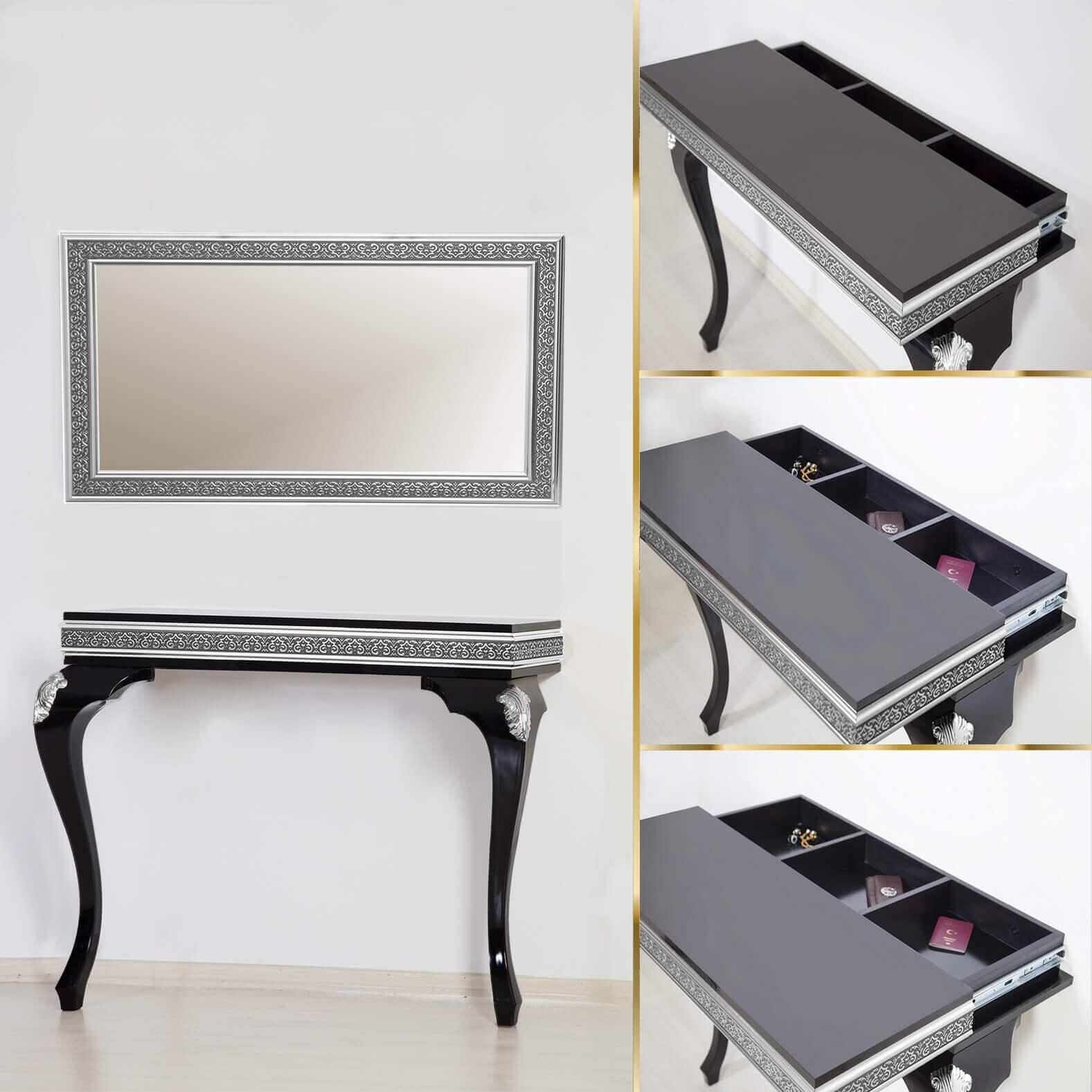 Parlak Beyaz- Gümüş Varak Gizli Bölmeli Dresuar Ayna Takımı